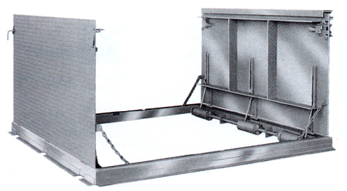 Sidewalk Pit \u0026 Floor Door - Model DLG Steel Split Leaf Heavy Duty Gutter